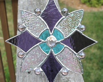 Stained Glass Suncatcher in Purple, Sky Blue and Iridescent Clear