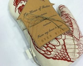 Oven-Mitt/Handmade/Hand-printed/Rooster/Wine red/FREE SHIPPING