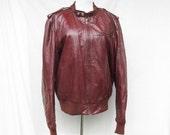 50% Off Sale Burgundy Cafe Racer Jacket Mens Small Bermans Leather Jacket
