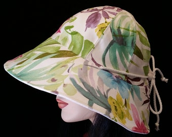 Reversible Cottage Hat Wide Brim Sun Hat in classy tropical floral print with adjust fit plus chinstrap for boating/convertibles/windy days