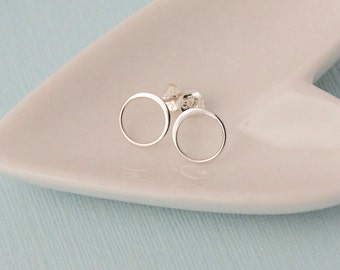 Tiny Sterling Silver Open Circle Post Earring/ 14k Gold fill open circle earrings