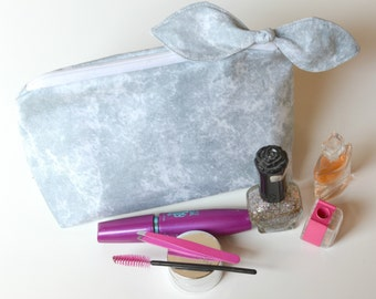 Bow Cosmetic Case - Make Up Bag -  bow cosmetic case - grey marble accessories - grey marble - toilettries case - brush tote, Cosmetic Bag