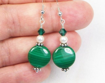 Malachite Earrings - Swarovki Crystals - Swarovski Pearls - Sterling Silver Ear Wires - Gift For Her