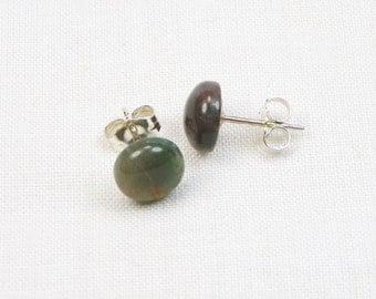 Fancy Jasper Earrings - 8MM - Sterling Silver - Stud - Cabochon - Genuine Gemstone - Gift