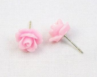 Pink Resin Rose Earrings - Sterling Silver - 10MM - Stud Earrings - Flower Earrings - Resin Earrings - Gift