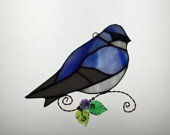 Tree Swallow Stained Glass Suncatcher