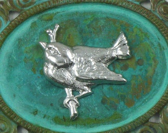 6 silver BIRD on BRANCH jewelry embellishment  . 23mm x 22mm (FF28)