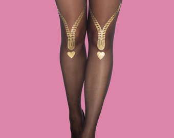Love song, tattoo tights, girlfriend gift, available in S-M L-XL  gold heart, gift for her, gift ideas
