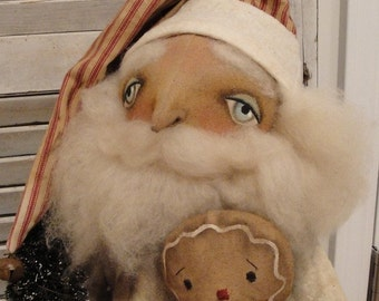 EPATTERN - Santa and his Gingerbread primitive folk art christmas doll epattern