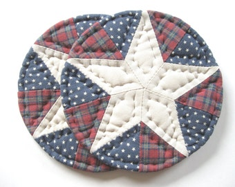 Americana Decor Quilted Mug Mats Quilted Coasters Quilted Candle Mats Fabric Coasters Patriotic Decor Rustic Home Decor Country Home Decor