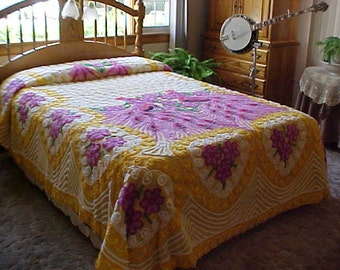 Peacock chenille yellow and purple plush bedspread