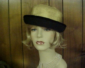 cloche hat with gold metallic crown and wool body and brim- fits 22 1/2""