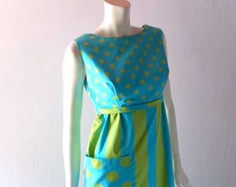 Mod Vintage 1960s Cotton Summer Dress - sz 2 4 SM Fitted Bodice - Betty Draper Palm Beach Chic Electric Lime & Turquoise Stripes Polka Dots