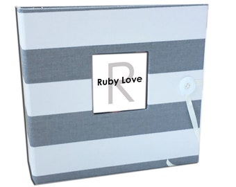 BABY BOOK | Gray and White Canopy Stripe Album | Ruby Love Modern Baby Memory Book