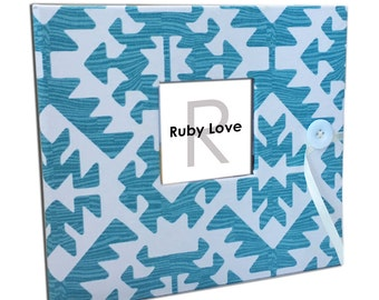 BABY BOOK | Teal Pawnee Tribal Baby Book | Ruby Love Modern Baby Memory Book