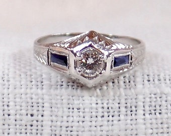 Art Deco 14k Gold Diamond and Sapphire Engagement Ring .45 Carat
