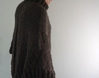 Deep Brown Tweed Turtleneck Hand Knit Warm Wool Poncho