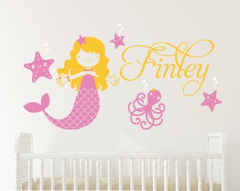 Mermaid Name Wall Decal: Ocean Under the Sea Baby Girl Nursery Personalized Underwater Wall Stickers