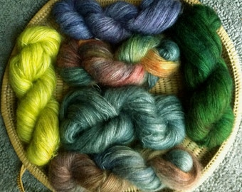 Mohair Merino Lace Weight Yarn Hand Dyed
