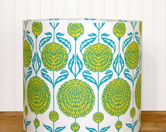 Floral Drum Shade - Lamp Shade - Boho Lampshade - Chrysanthemum - Teal and Mustard - Floral Lamp Shade - Children - Bohemian Decor