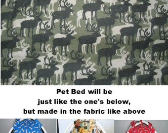 Small Camo Moose Print Fabric Pup Tent Pet Bed for cats/ dogs/piggies / toy box/ Barbie Doll House
