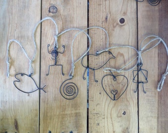 Boho Wire Folk Art Sculpture Garland Wall Hanging