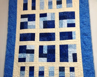Square Blues. Hand Quilted Wall Quilt, leaves, rectangles, leaves.
