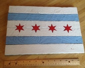 Painted Wood Lath Chicago Flag