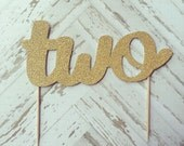 Two Gold Glitter Cake Topper