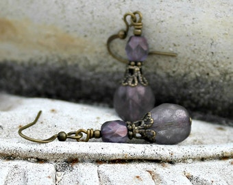 Dark Purple Drop Earrings, Petite, Bohemian Czech Glass, Indigo