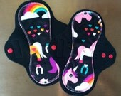 "9"" Medium Flow Reusable Hourglass Cloth Pad Pair ~ Rainbow Unipony Minky ~ by Talulah Bean"