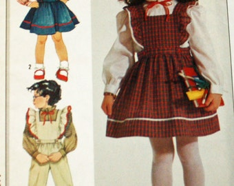 Vintage 1980s, Sewing Pattern, Simplicity 7011, Girls' Blouse, Jumper and Overalls, Childs' Size 3, 4 and 5, UNCUT, FF