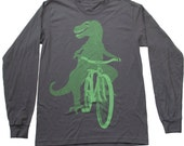 Dinosaur on a Bike- Mens Long Sleeve T Shirt, Unisex Tee, Cotton Tee, Handmade graphic tee, Bicycle shirt, Bike Tee, sizes xs-xxl