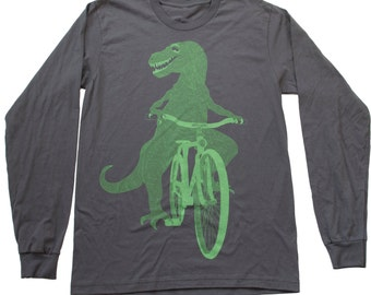 Mens DINOSAUR on a BICYCLE - Longsleeved T Shirt -  American Apparel Asphalt Shirt -  Available in S, M, L, xl, xxl