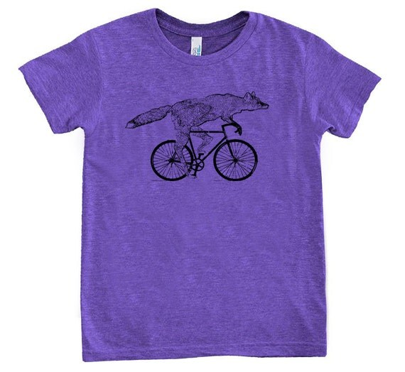 KIDS Fox on a Bike Shirt - Childrens TShirt - American Apparel Tri-Evergreen Tri-Orchid - Available in 2, 4, 6