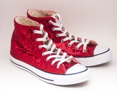 Ready 2 Ship | Size 8 WMNS / MENS 6 Tiny Red Sequin Customized Converse Hi Top Sneakers Shoes