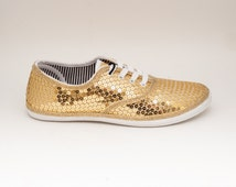 Sequin | CVO Gold Canvas Sneakers Tennis Shoes