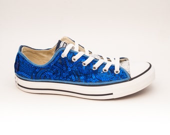 Sequin | Sapphire Blue Curl Swirl Pattern and White Canvas Low Top Sneakers Shoes