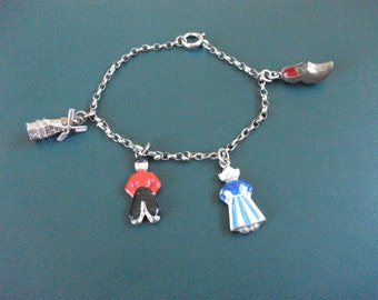 Reserved Do Not Purchase Vintage German Silver 835 & Hallmarked Enamel Danish Dutch Charm Bracelet With 4 Charms