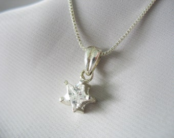 """CZ Star Pendant Necklace 925 Sterling Silver 18"""" Box Chain 8mm Charm Prong Set Italy"""