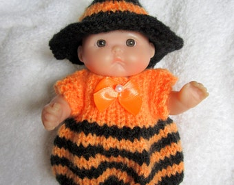 Halloween Witch Romper Knit Doll Clothing for Itty Bitty Chubby 5 inch Berenguer Baby Dolls