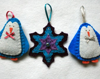 Snowflake and Penguin Ornaments