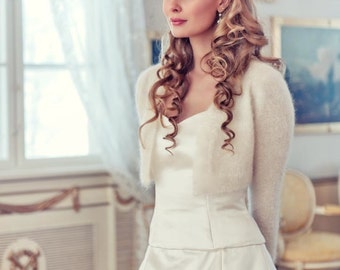 Wedding Bolero 70% angora rabbit Kate Middleton Sweater hand knit v-neck No buttons LONG SLEEVE crop // bridal bolero - Bridal Shrug Wedding