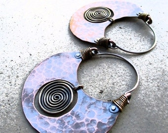 Big Pachamama Hoop Earrings, Spiral, Mixed Metal, Metalsmithed, Tribal,  Boho, Earthy, Ancient Treasure