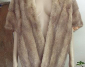 Vtg Elegant Pastel Mink Stole / Cape / Wrap, Con-Ell Furs, Sault Ste. Marie, Ontario,  Size L