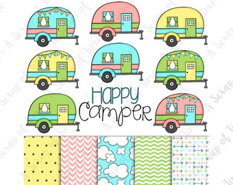 Happy Camper Hand Drawn Digital Clipart & Paper - Set of 14 - Campers, Title, Digital Paper - Instant Download - Item #9159