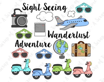 Sight Seeing Travel Hand Drawn Digital Clipart - Set of 18 - Camera Airplane Sunglasses Globe Scooter Moped - Instant Download - Item#9148