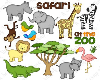 Zoo Safari Hand Drawn Digital Clipart - Set of 15 - Elephant Zebra Giraffe Monkey Lion Hippo Rhino Flamingo - Instant Download - Item #9166