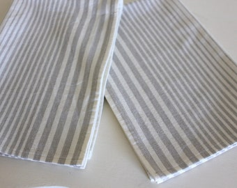 Gray Striped Cotton Towels