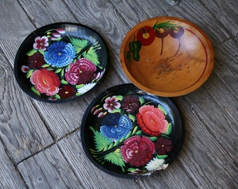 One Hand Painted Wood Bowl Folk Art Flowers Black Red Blue Green Bright Colorful Vintage From Nowvintage on Etsy